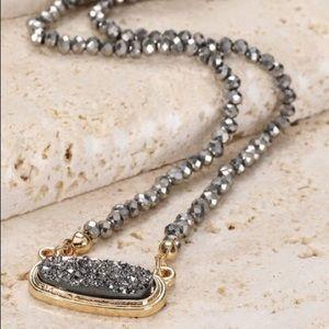 Jewelry - Hematite Druzy Pendant with Glass Beads